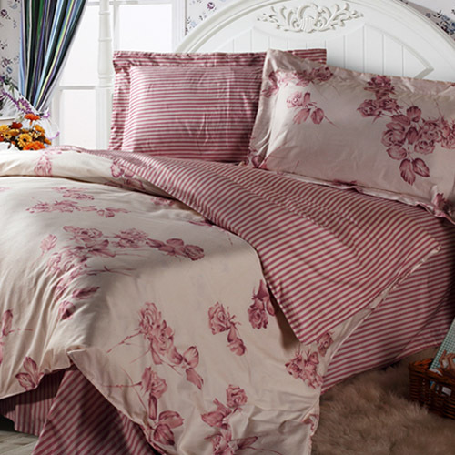 All-cotton 4-in-1 set bedding (print fabric) — Rosa Chinensis