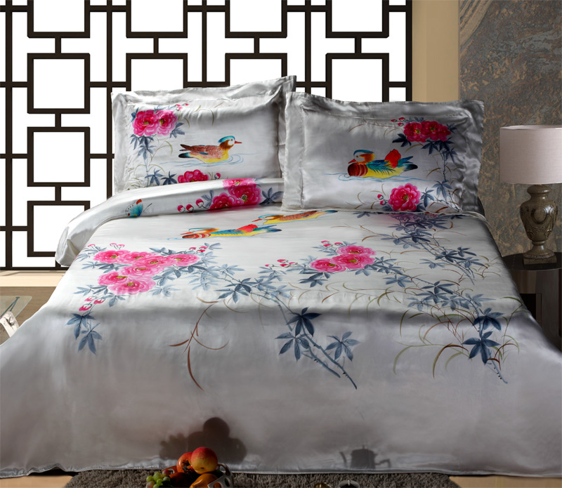 3-in-1 Silk Bedding Suites (Hand Painted) — Mandarin Ducks