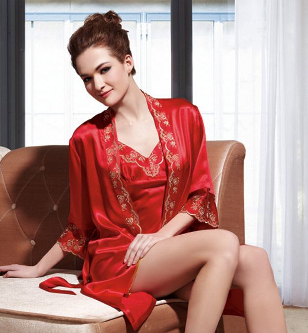 Real silk pajamas — Women's sun-top + gown (red)